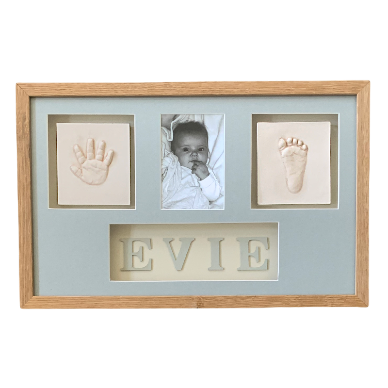 Framed Baby clay hand and foot impressions with name