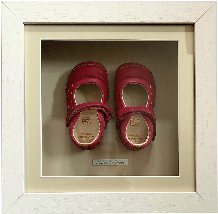 REd Baby shoes in wooden box frame