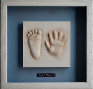 Foot and Hand Clay Prints - framed