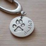 animal paw print in silver, animal lover gift, dog keyring