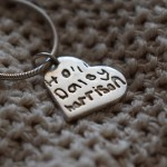 Childs handwriting names - personalised silver charm jewellery