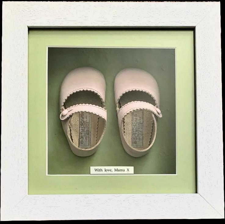Baby shoe framing service