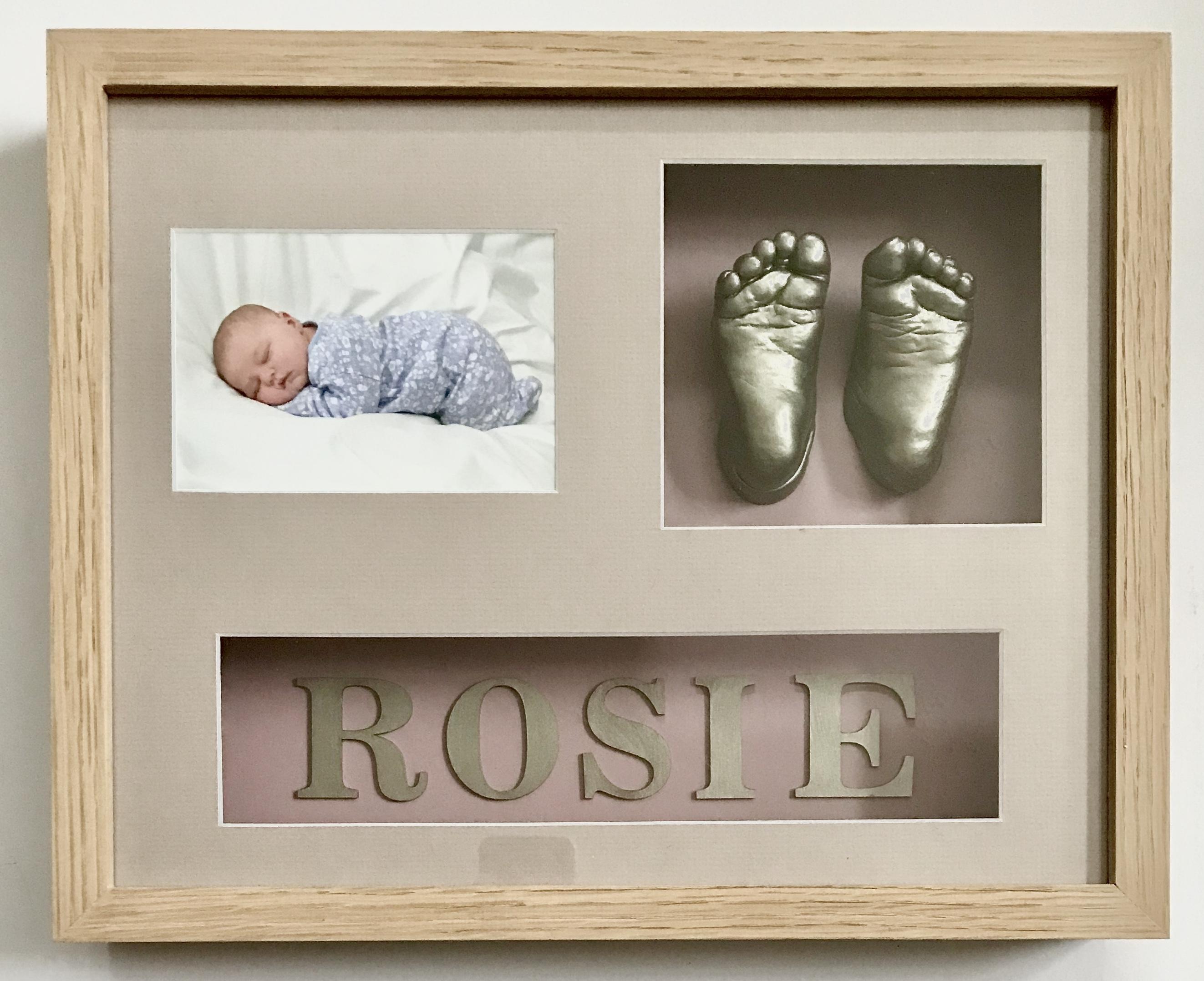 Baby feet casting framed