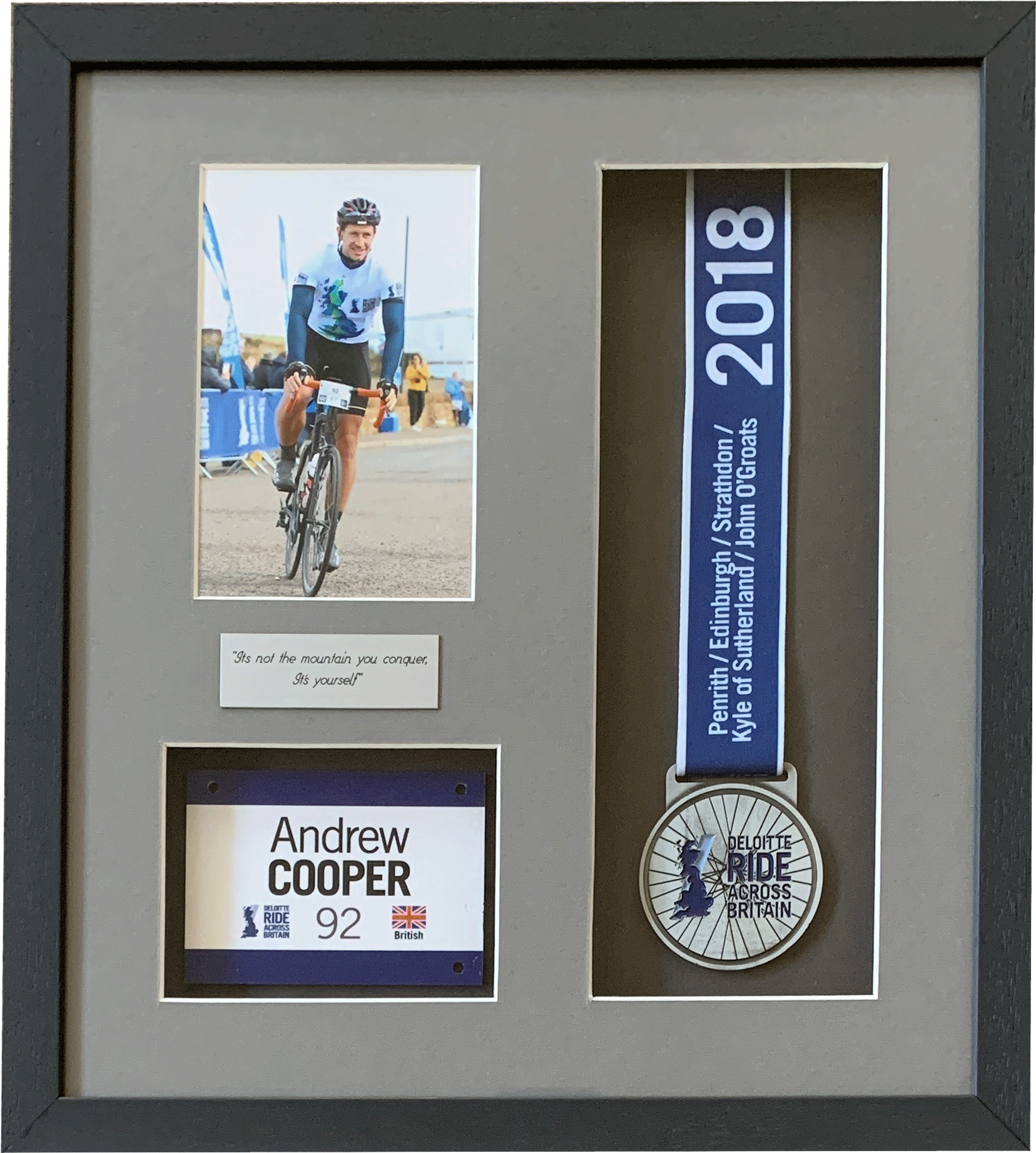 Sports Medal framed with photo