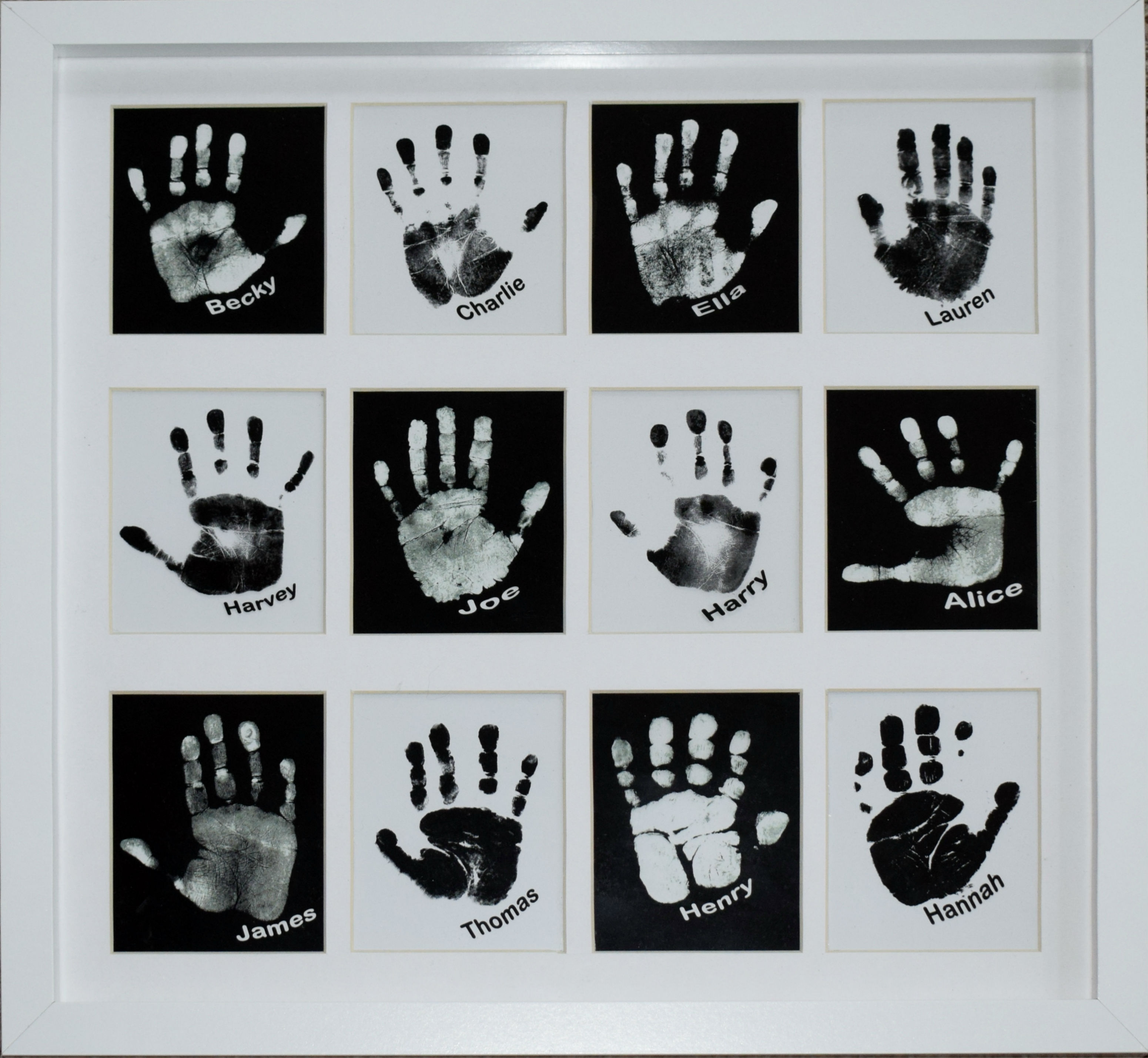 personalised pop art showing a group if children's hands and names