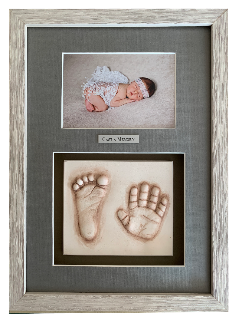 baby frame clay hands and feet with photo