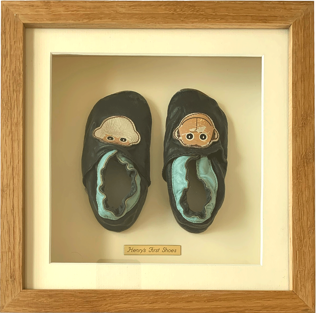 Baby's first slippers in box frame