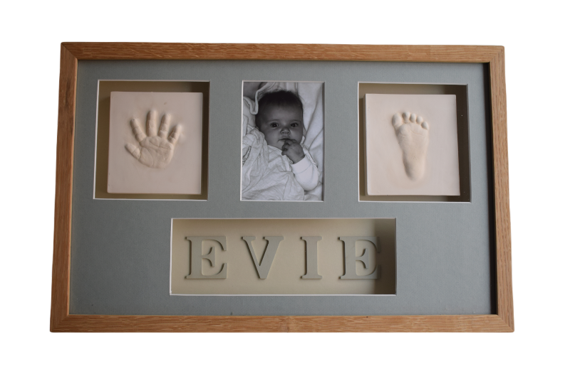 baby hand and foot clay impressions with photo in framed box