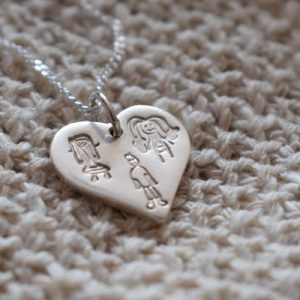 Personalised silver jewellery charm with kids drawings