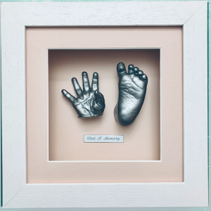 Framed baby hand and foot life cast