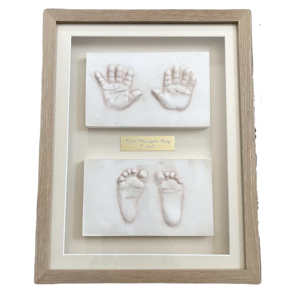 baby clay hands and feet framed