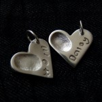 Medium Heart Charm with fingerprint - personalised silver jewellery