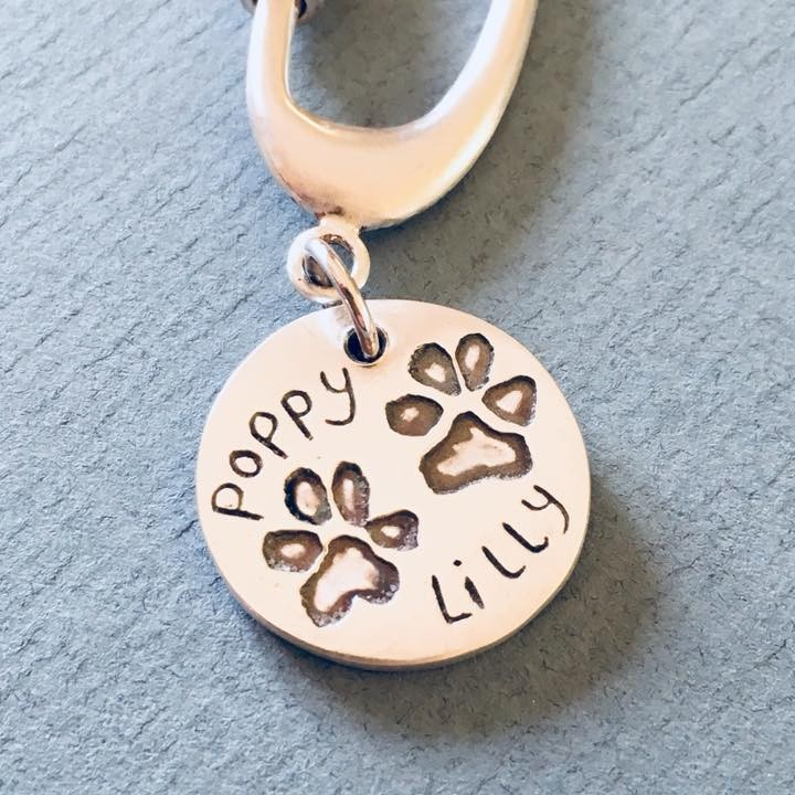 Pet Keepsake gifts - keyring with let paw prints engraved