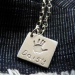 Large Charm on Belcher Chain handprint - personalised silver jewellery
