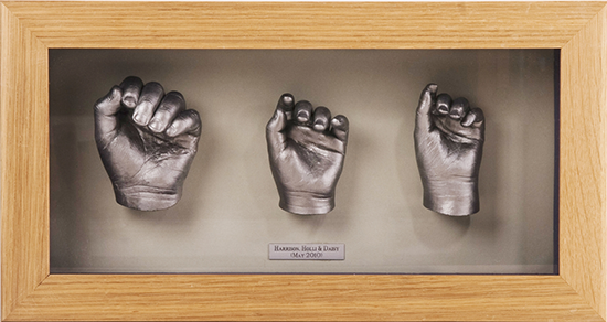 Hand Life Cast of 3 Siblings