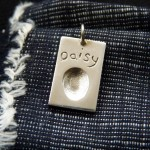 Medium Rectangular Charm with fingerprint - Personalised silver jewellery