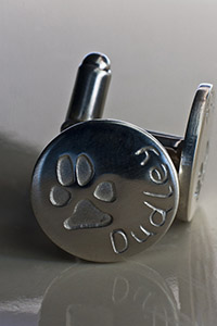 Paw Print on SIlver Cufflinks