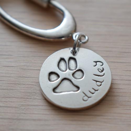 paw print impression on keyring keepsake