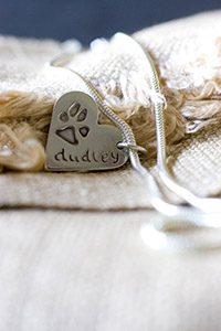 Silver Necklace with Paw Print