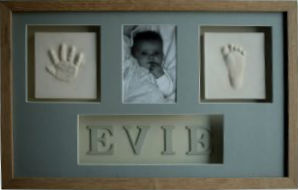 Hand and Foot Clay Prints with photo and name - framed