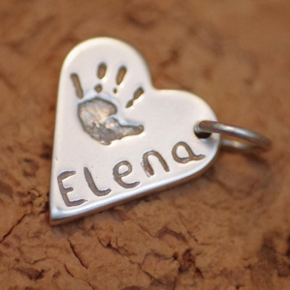 Small Heart Charm with name and handprint